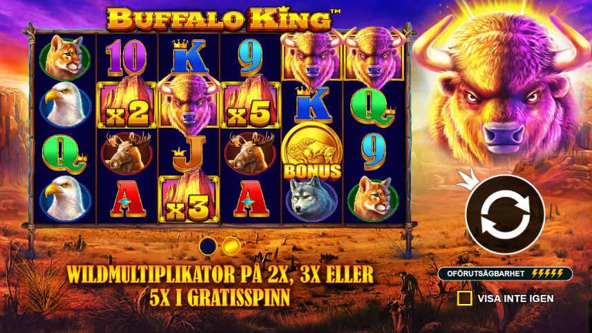 Bild från menyn i casinospelet Buffalo King. Här ser vi hur wilds fungerar som multiplikatorer när frispelsläget är aktiverat.