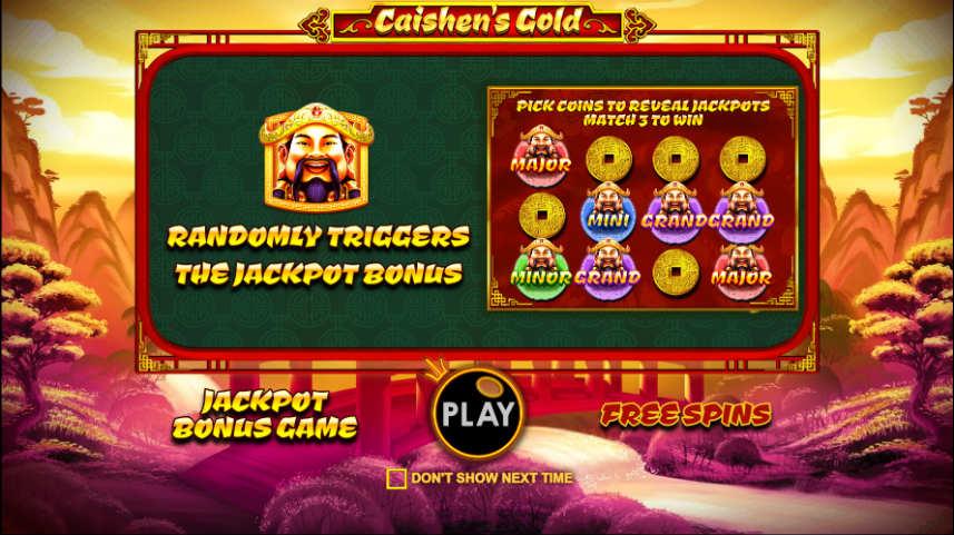Beskrivning av jackpottar i online slot Caishens Gold