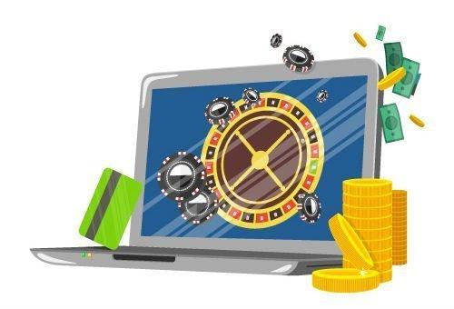 En laptop syns på bilden samt ett kreditkort och pengar i form av sedlar och guldmynt. På den tecknade datorskärmen syns ett roulettehjul