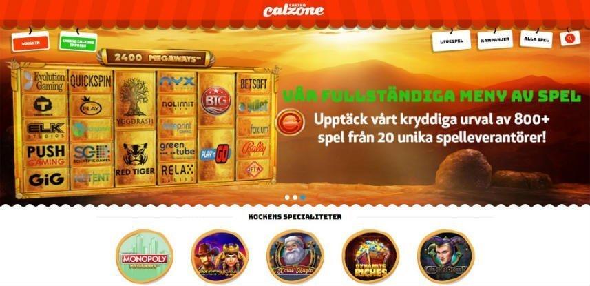 Skärmbild från Casino Calzones hemsida