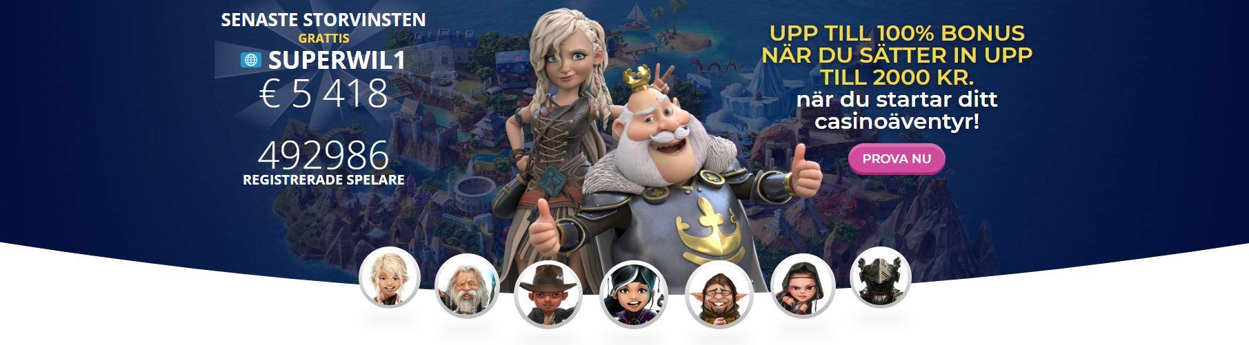 På bilden ser vi Casino Heroes startsida. Här syns ett antal olika tecknade karaktärer samt senaste stora vinsterna, välkomsterbjudandet och inloggningsknappen.