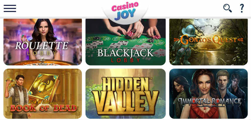 Ett urval av spel tillgängliga på Casino Joy. Vi ser Roulette, Blackjack, Gonzos Quest, Book of Dead, Hidden Valley och Immortal Romance.