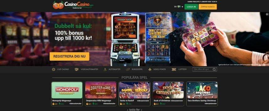 Skärmbild som visar Casinocasinos startsida.