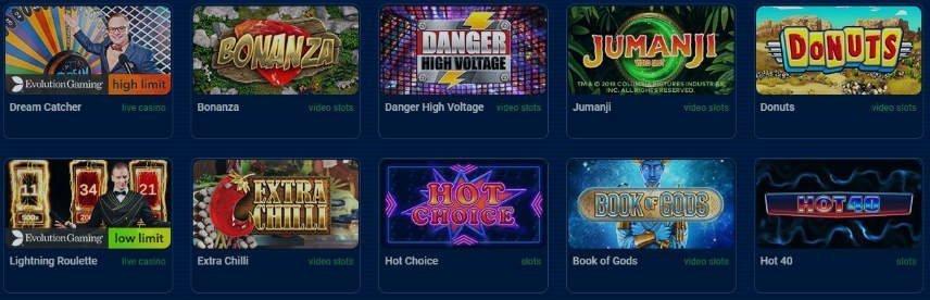Ett urval av casinospel tillgängliga på CasinoCasino. På bilden ser vi bland annat Bonanza Megaways, Danger High Volatage och Extra Chilli.