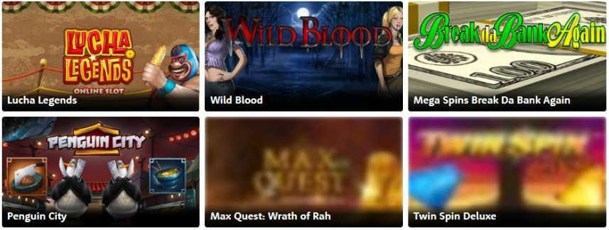 Bilden visar ett urval av online slots tillgängliga på Casino Room. PÅ bilden ser vi spelen Lucha Legends, Wild Blood, Mega Spins Break Da Bank Again, Penguin City, Max Quest: Wrath of Rah och Twin Spin Deluxe.