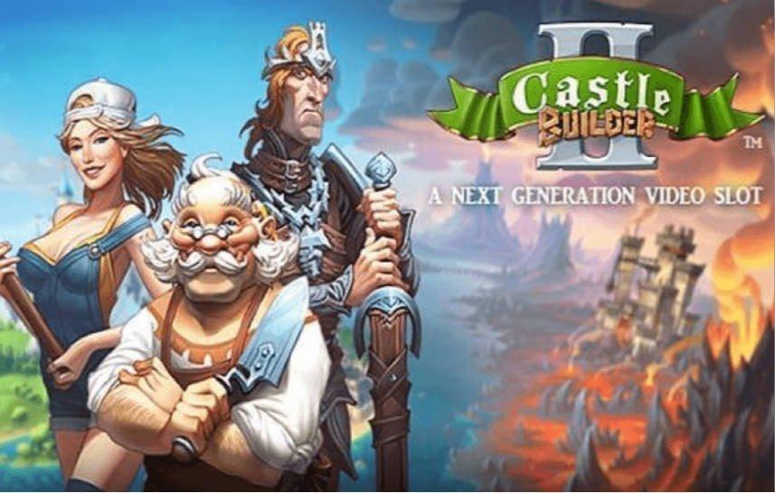 Grafik som visar karaktärer och logotyp från casinospelet Castle Builders 2