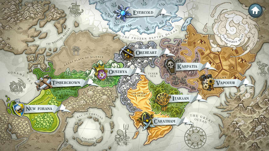 Världskarta från online slot Castle Builders 2
