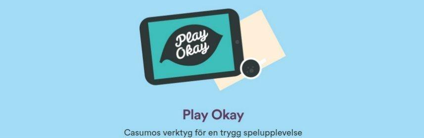 """Denna bilden visar Casumo Cares, ett initiativ för ansvarsfullt spelande. På bilden syns en surfplatta, under denna står det """"Play Okay Casumos verktyg för en trygg spelupplevelse""""."""