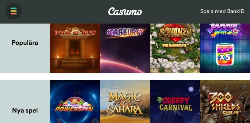 Denna bilden visar ett urval av online slots som finns tillgängliga på Casumo casino. Vi ser även två olika spelkategorier; Populära och Nya spel.