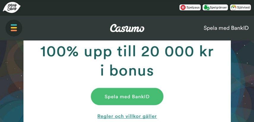 """Bilden visar en skärmdump från Casumos hemsida. Vi ser texten """"100% upp till 20 000 kr i bonus"""" vilket är Casumos välkomsterbjudande. Vi kan även se menyraden och inloggningsmenyn"""