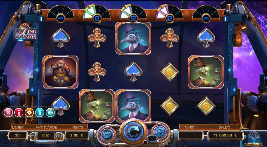 På bilden ser vi casinospelet Cazino Cosmos. Vi ser symboler i form av människor, rymdvarelser och kortsymboler. Nedanför ser vi kontrollytan där options har öppnats.