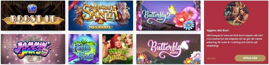 Bilden visar ett urval av online slots tillgängliga på Cherry Casino. Bland spelen vi ser på bilden hittar vi bland annat Jammin Jars och Butterfly Staxx.