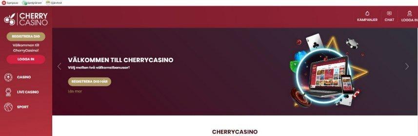 Skärmbild som visar startsidan från Cherry Casino.