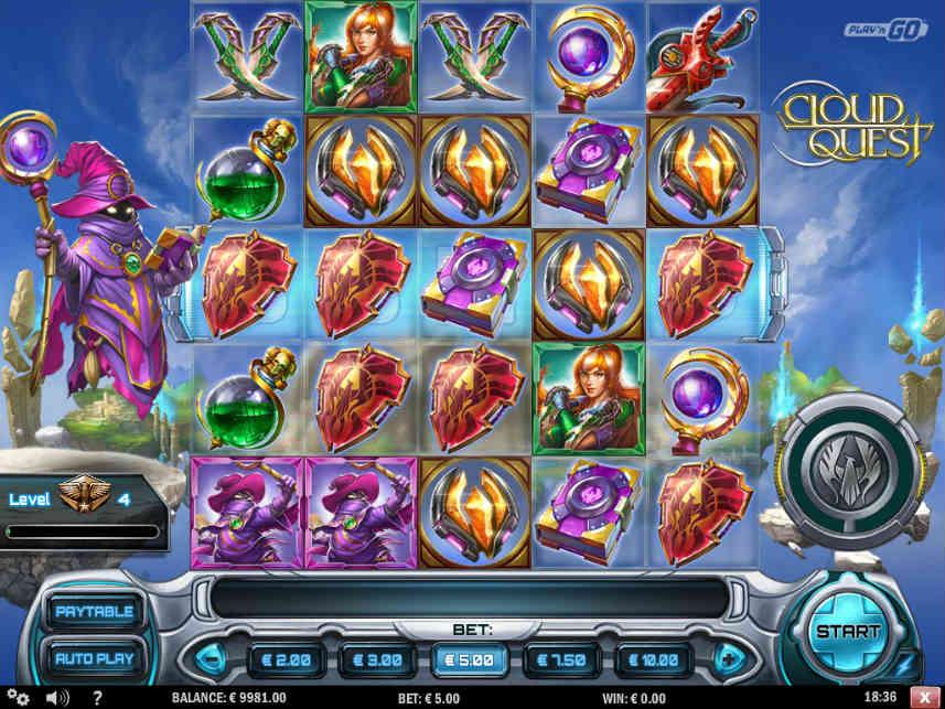 Grundspelet i casinospelet Cloud Quest från Play n GO