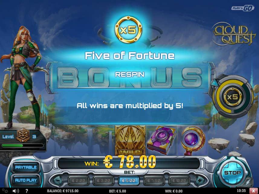 Ytterligare en bonusfunktion i online slot Cloud Quest
