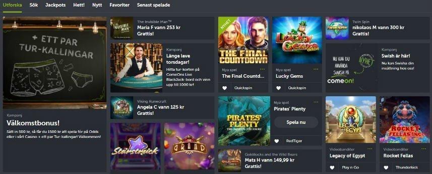 Skärmbild som visar startsidan på ComeOn Casino