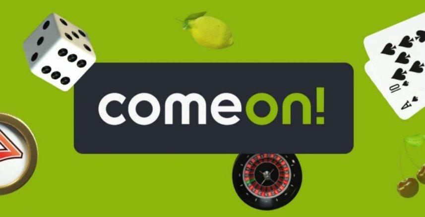 Grafik från comeon. Centrerat ser vi ComeOns logotyp. Bakgrunden är grön och det ligger tärningar och andra casinorelaterade saker på bakgrunden.