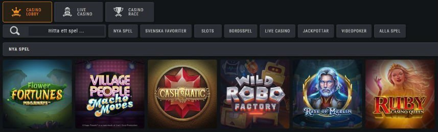 På denna bilden ser vi fem spel som du kan spela på Coolbet. Här ser vi Flower Fortunes Megaways, Village People Macho Moves, Cash o Matic, Wild Robo Factory, Rise of Merlin och Ruby Casino Queen.