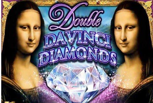 Grafik för Davinci Diamonds. Två Mona Lisa porträtt syns till höger och vänster. I mitten står spelets namn och under syns en diamant