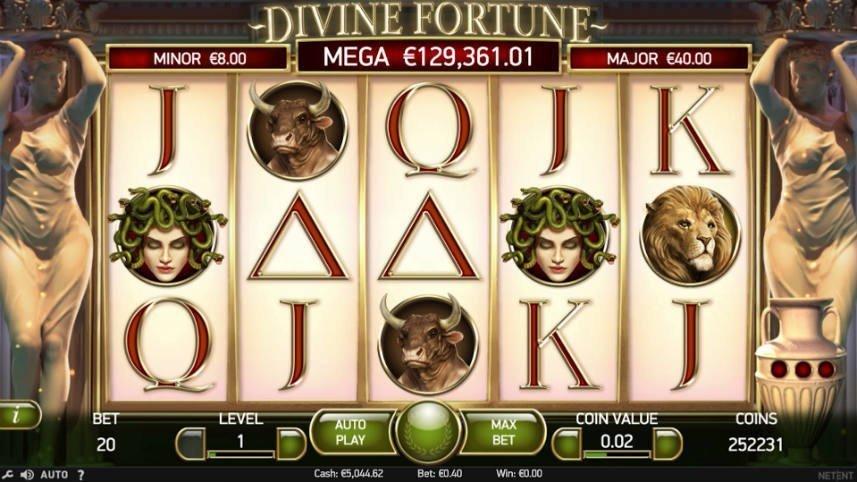 Divine Fortunes basspel. Detta spelet är utvecklat av svenska NetEnt