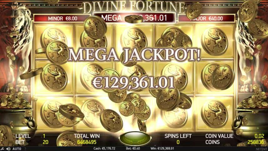 Jackpott i Divine Fortune. Detta spelet har tre olika jackpottar varav en är progressiv.