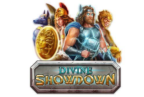 """Logotyp tillhörande Divine Showdown. överst ser vi gudar från ett antal olika mytologier. Under syns texten """"Divine Showdown"""""""