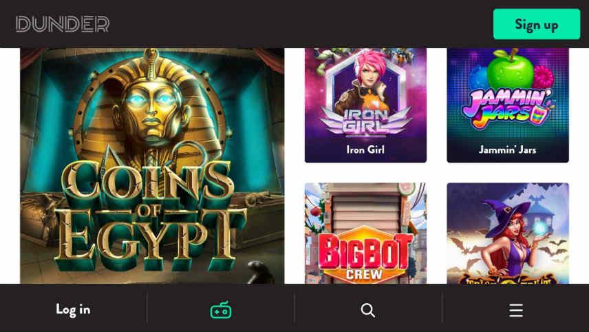 Dunder casino spelutbud