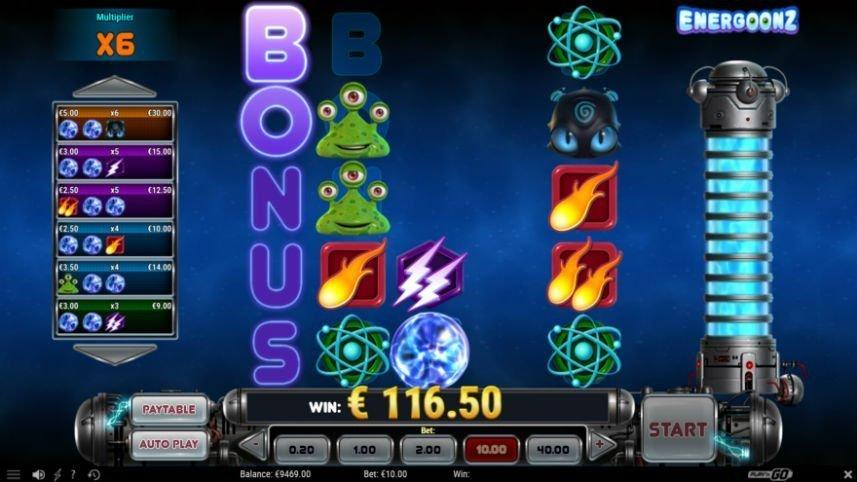 Skärmdump från aktiveringen av bonus i casinospelet Energoonz