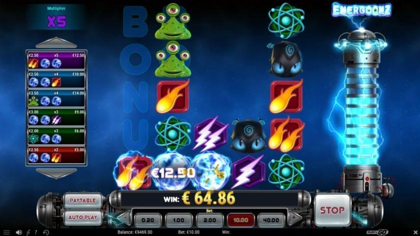 Skärmdump från vinst i casinospelet Energoonz