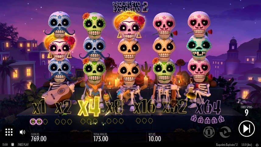 Här ser vi hur bonusspelet har aktiverats i Esquelito Explosivo 2.
