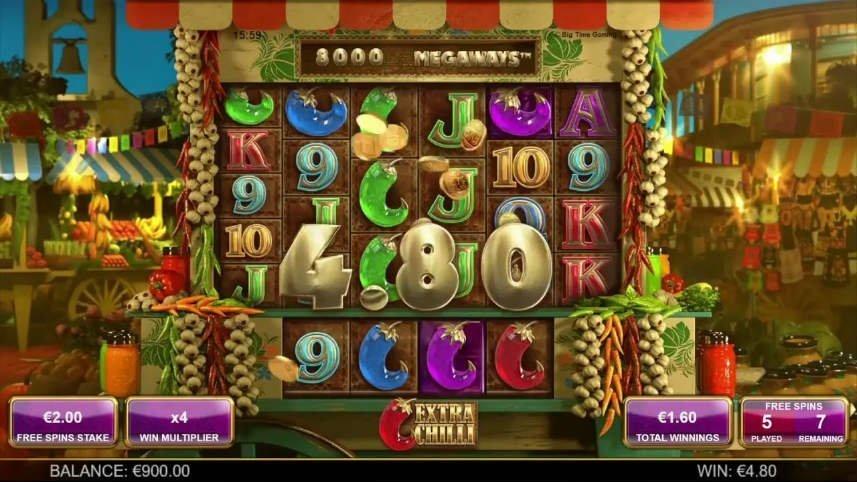 Vinst i casinospelet Extra Chilli
