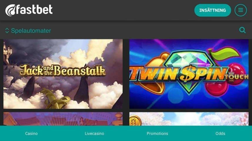 Bilden visar de två spelen Jack and the Beanstalk och Twin Spin Touch. Båda är spel från Fastbets utbud.