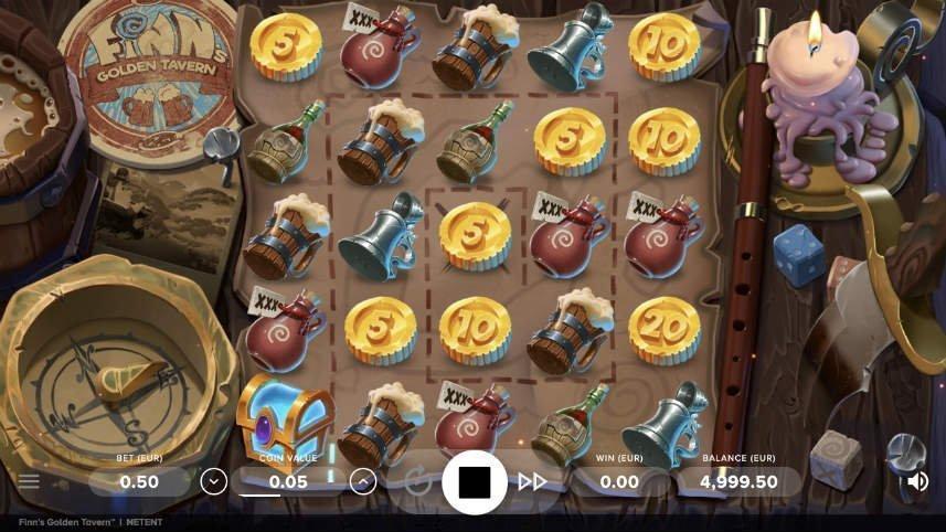 Bild från casinospelet Finns Golden Tavern. På bilden ser vi den stora spelytan som är fylld av symboler. Symbolerna består av guldmynt och sejdlar och annat man kan tänkas hitta på ett värdshus.