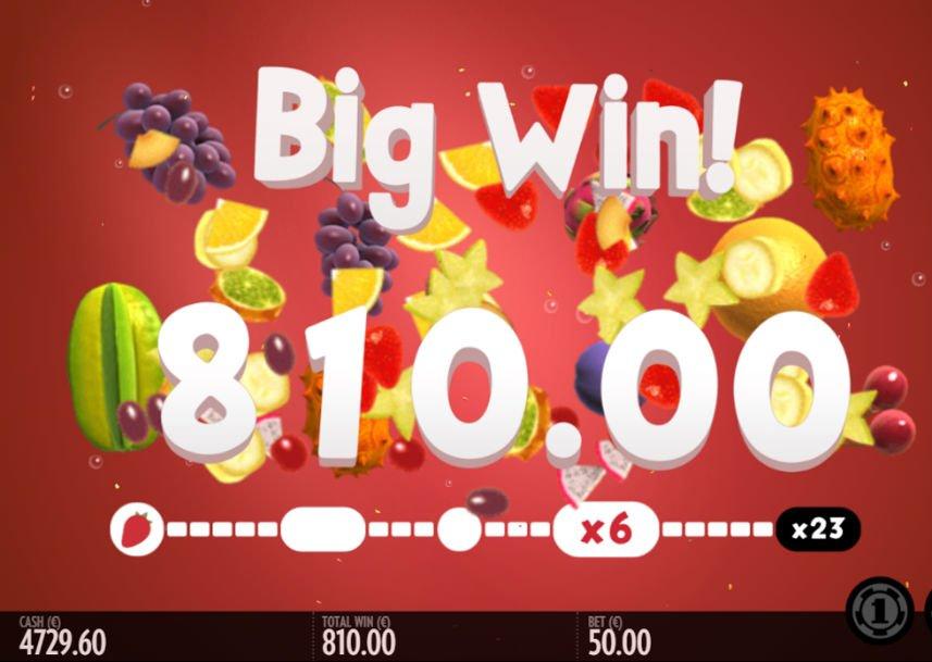 Vinst i casinospelet Fruit Warp