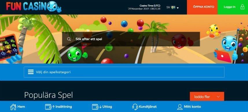 Skärmdump från nätcasinot funcasinos hemsida