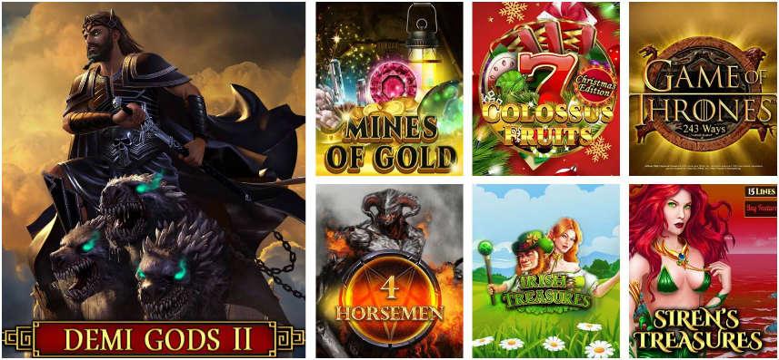 Ett urval av casinospel tillgängliga på Gale & Martin casino. Här ser vi bland annat spel som Demi Gods II, Mines of Gold, Game of Thrones och Sirens Treasures.