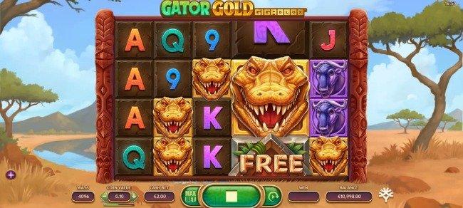 Gator Gold Gigablox online slot från Yggdrasil