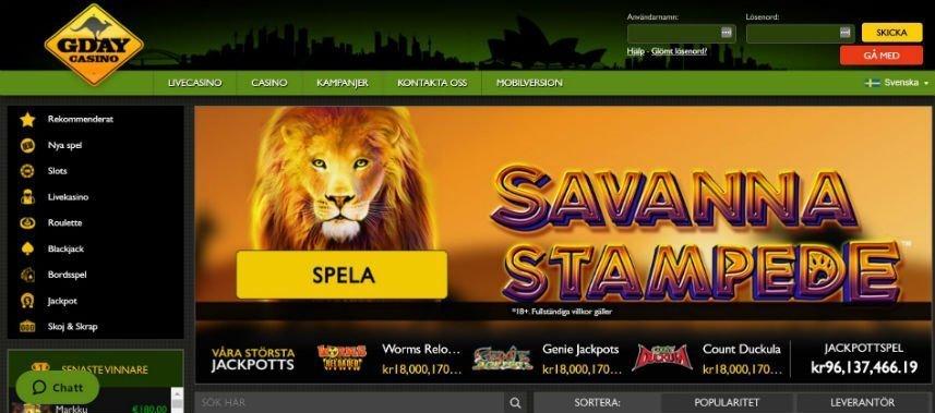 Skärmbild från Gday Casinos startsida. I övre vänstra hörnet ser vi casinots logotyp, i vänstra hörnet ser vi inloggningsalternativ och registreringsalternativ. Under ser vi en grön meny som länkar till livecasino, casino, kampanjer, kontakt och mobilversion. Vänstra fältet upptas till stor del av navigationslänkar. I mitten av sidan ser vi reklam för casinospelet Savanna Stampede, nedanför detta ser vi aktuella jackpottar.