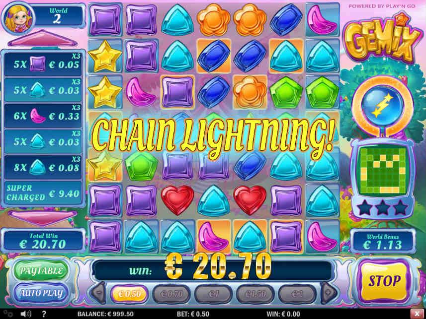 bonus i casinospelet Gemix från Play n'Go
