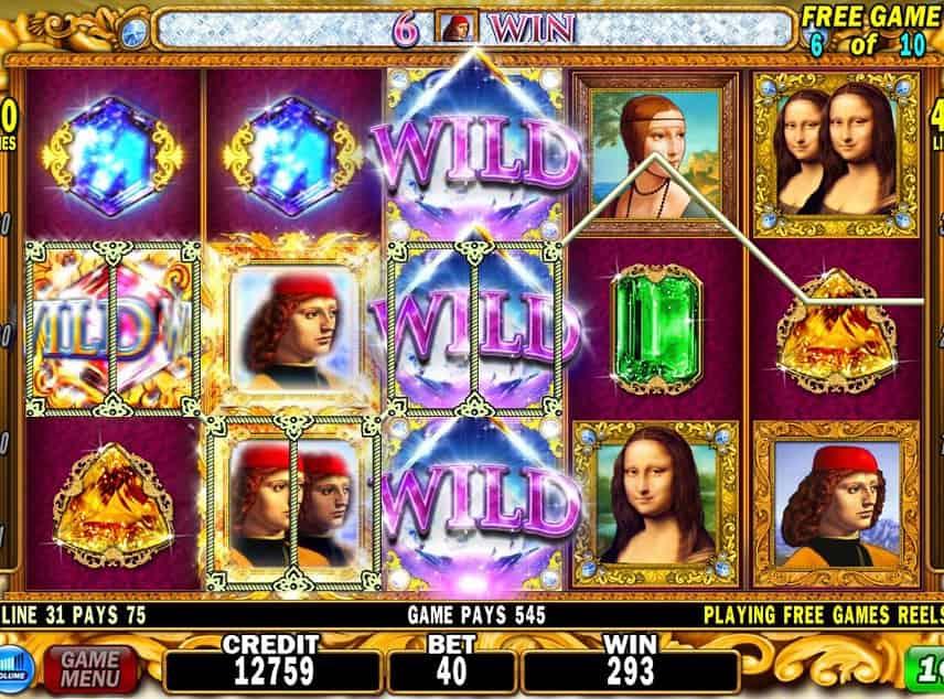 Skärmbild från DaVinci Diamonds. Vi ser spelytan med diamanter, personer, wilds och guld som symboler. Under har vi kontrollytan med saldo, insats, vinst, spelmeny och startknapp.