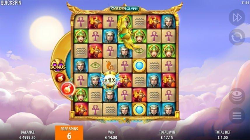 I casinospelet Golden Glyph har du möjlighet att låsa upp multipliers som multiplicerar dina vinster