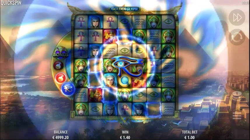 Bonus i casinospelet Golden Glyph från svenska spelutvecklaren Quickspin