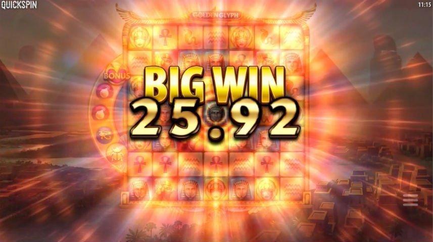 Stor vinst i online slot Golden Glyph från den svenska spelutvecklaren Quickspin