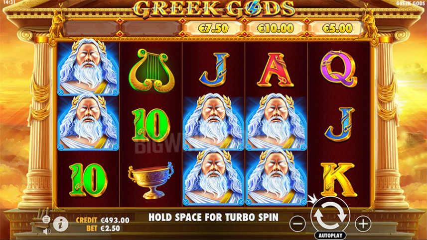 Grundspelet i casinospelet Greek Gods. På bilden ser vi olika symboler från spelet och själva spelkontrollerna.