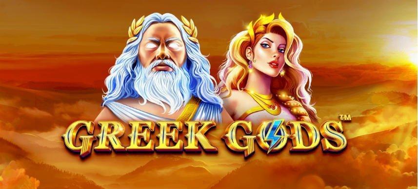 Grafik från casinospelet Greek Gods. På bilden ser vi två gudar och under texten Greek Gods. I bakgrunden ser vi en himmel med solnedgång.