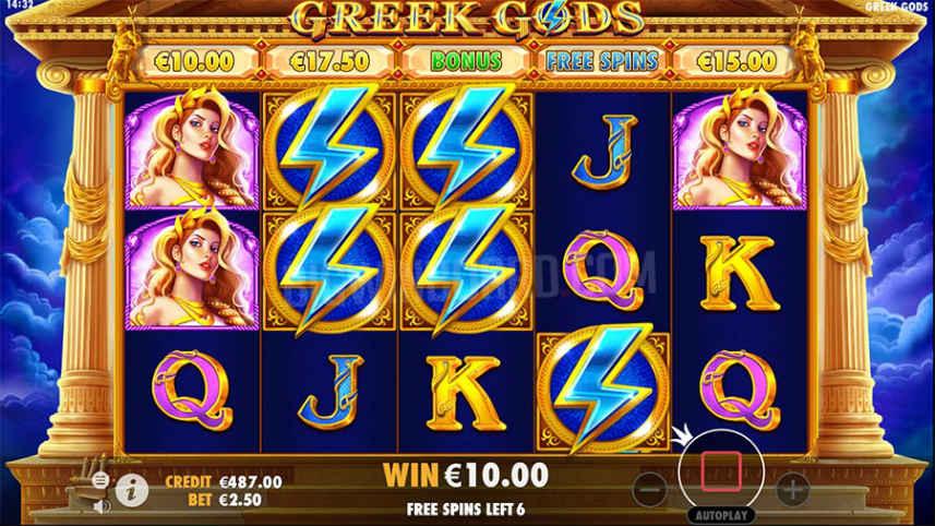 Freespins aktiverade i casinospelet Greek Gods. Vi ser spelets olika symboler som består av bokstäver, blixtar och kvinnliga gudagestalter.