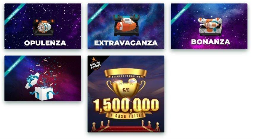 På denna bilden ser vi olika bonusar från HappyHugos casino. Bonusarna har fått namn som opulenza, extravaganza och bonanza.