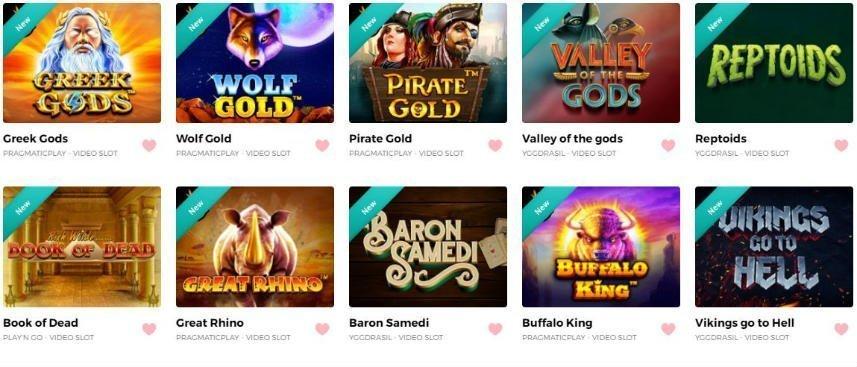På denna bilden ser vi ett antal spel tillgängliga på HappyHugo. Vi ser bland annat Greek Gods, Wolf Gold, Pirate Gold, Book of Dead, Baron Samedi och Buffalo King.