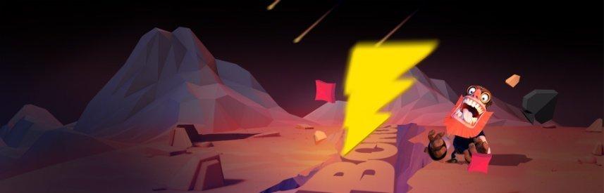 Grafik från Hyper Casinos hemsida. På bilden syns en karaktär på en främmande ökenplanet. I marken står det Bonus och i himmelen ses stjärnfall.