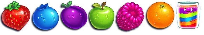 Bilden visar olika symboler från Jammin Jars. Det är olika frukter, bär och en skål med sylt.